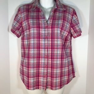 Erika Short Sleeve Seersucker Pink Plaid Fitted